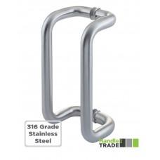 Cranked D Pull Door Handle 1.5mm Wall   300 x 32mm Pair 316 SS