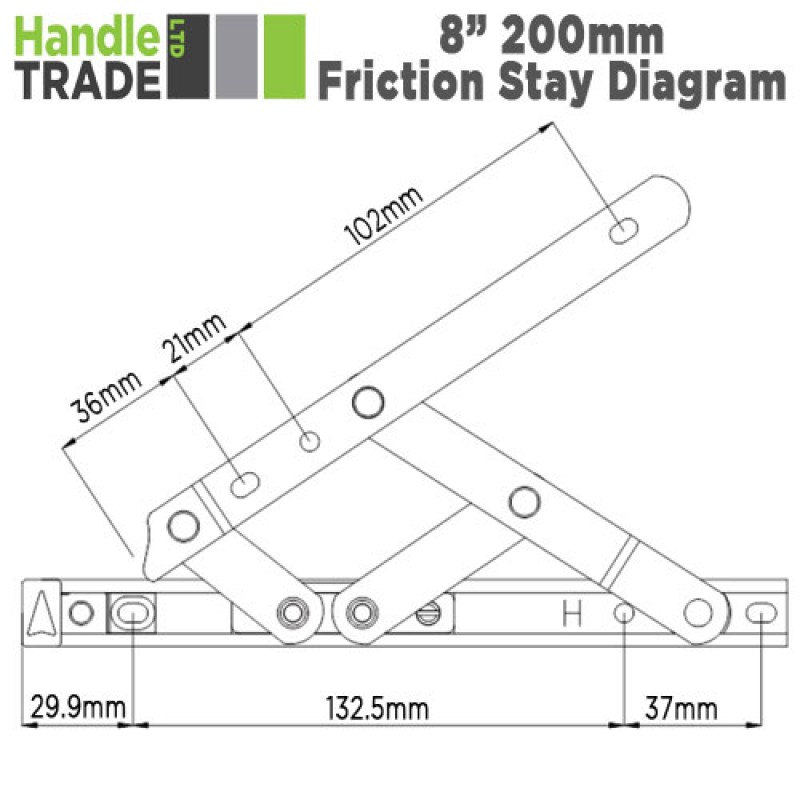 Standard Friction Stay 8 Quot 17mm Stack Window Hinge