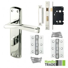 Handle Trade - HT Door Handle Bathroom Lock & Hinge Set 100 CP - HT100BCP