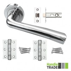 HT Rose Door Handle, Latch & Hinge Set 201 CP