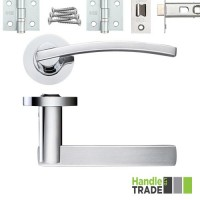 HT300 Door Handle Set Screw on Rose Hinges & Latch SCCP