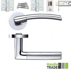 HT340 Door Handle Set Screw on Rose Hinges & Latch SCCP