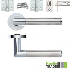 HT370 Door Handle Set Screw on Rose Hinges & Latch SCCP