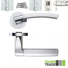 HT380 Door Handle Set Screw on Rose Hinges & Latch SCCP