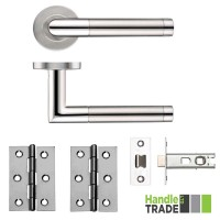 HT110 Door Handle Set Screw on Rose Hinges & Latch SSPS