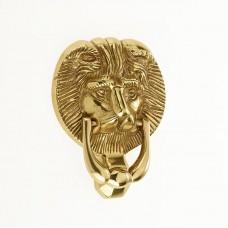 """Mila - Lion Head Door Knocker 6"""" in Polished Gold - 590224"""