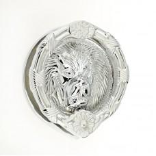 "Mila - Round Lion Head Door Knocker 6"" in Polished Chrome - 590241"