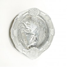 "Mila - Round Lion Head Door Knocker 6"" in Satin Chrome - 590243"