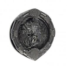 "Mila - Round Lion Head Door Knocker 6"" in Black - 590247"