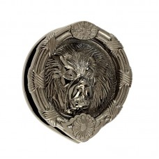 "Mila - Round Lion Head Door Knocker 6"" in Smokey Chrome - 590245"