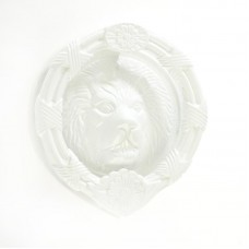 "Mila - Round Lion Head Door Knocker 6"" in White - 590248"