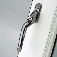 Pro Linea Window Espag Handle LH Cranked 40mm Locking Smokey Chrome