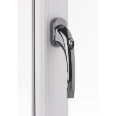 Tilt & Turn Window Handle or TBT 43mm Locking Smokey Chrome