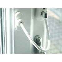Cable Window Restrictor 200mm Lockable Security White