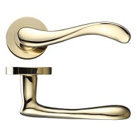 Imola Door Handle on Round Rose 50mm Rose PVD
