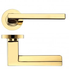 Zoo Hardware - Acerra Door Handle on Round Rose 50mm Rose PVD Brass - DAT070PVD