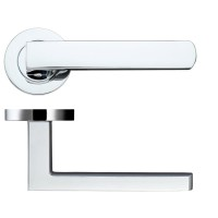 Pesaro Door Handle on Round Rose 50mm Rose CP