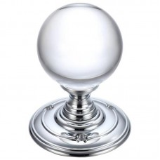 Glass Ball Mortice Door Knob Plain 70mm Rose CP