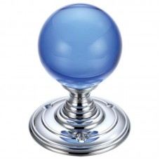 Glass Ball Mortice Door Knob Blue Plain 70mm Rose CP