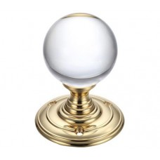 Glass Ball Mortice Door Knob Plain 70mm Rose PB