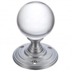 Fulton & Bray - Glass Ball Mortice Door Knob Plain 70mm Rose SC - FB300SC
