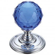 Glass Ball Mortice Door Knob Blue Facetted 70mm Rose CP