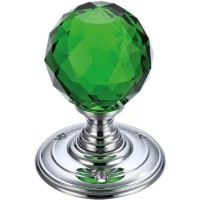 Glass Ball Mortice Door Knob Green Facetted 70mm Rose CP