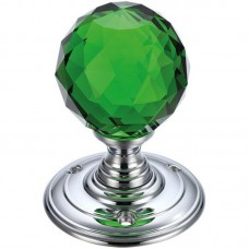 Fulton & Bray - Glass Ball Mortice Door Knob Green Facetted 70mm Rose CP - FB301CPG