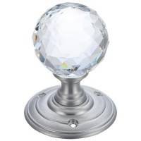 Glass Ball Mortice Door Knob Clear Facetted 70mm Rose SC