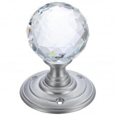 Fulton & Bray - Glass Ball Mortice Door Knob Clear Facetted 70mm Rose SC - FB301SC