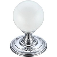 Glass Ball Mortice Door Knob Frosted 70mm Rose CP
