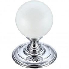 Fulton & Bray - Glass Ball Mortice Door Knob Frosted 70mm Rose CP - FB302CP