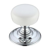 Porcelain Mortice Door Knob Plain White 70mm Rose PWCP
