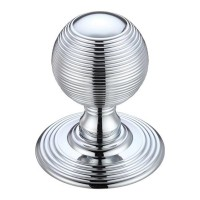 Ringed Mortice Door Knob on Round Rose 70mm Rose CP