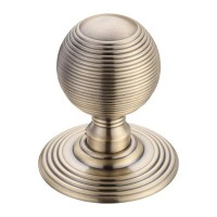 Ringed Mortice Door Knob on Round Rose 70mm Rose FB
