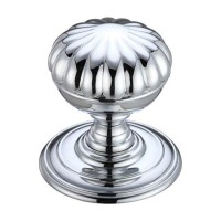 Flower Mortice Door Knob on Round 70mm Rose CP