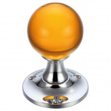 Glass Ball Mortice Door Knob Amber Plain 60mm Rose CP