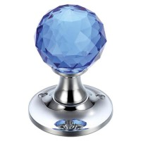 Glass Ball Mortice Door Knob Facetted 60mm Rose CP/Blue