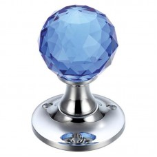 Fulton & Bray - Glass Ball Mortice Door Knob Facetted 60mm Rose CP/Blue - FB401CPB