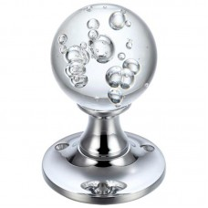 Glass Ball Mortice Door Knob Bubbled 60mm Rose CP