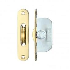 "Brass Ball Bearing Axle Window Pulleys Radius 1 3/4"" PB"
