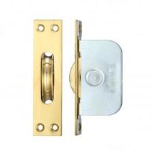 "Brass Ball Bearing Axle Window Pulleys Square 2 1/4"" PB"