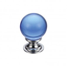 Glass Ball Cabinet Door Knob Plain 25mm CP Blue