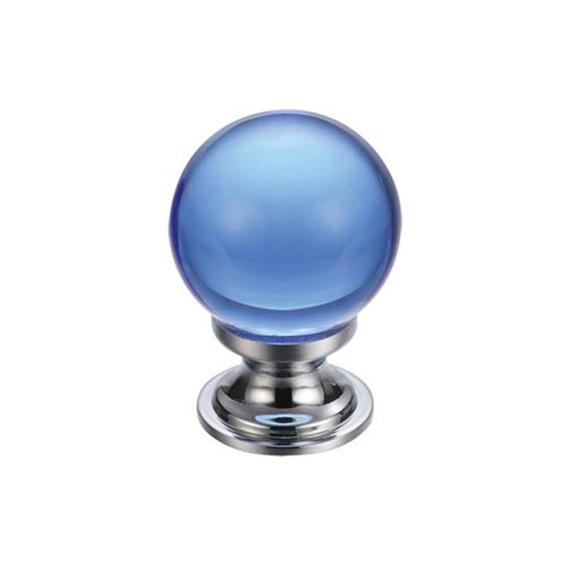 Glass Ball Cabinet Door Knob Plain 25mm Chrome Blue Fch0