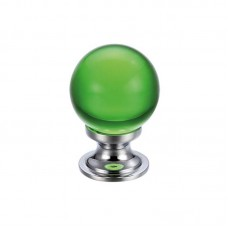 Glass Ball Cabinet Door Knob Plain 25mm CP Green