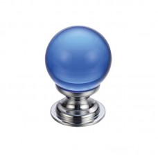 Glass Ball Cabinet Door Knob Plain 30mm CP Blue