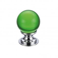 Glass Ball Cabinet Door Knob Plain 30mm CP Green