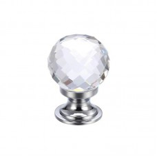 Fulton & Bray - Glass Ball Cabinet Door Knob Facetted 25mm CP - FCH03ACP