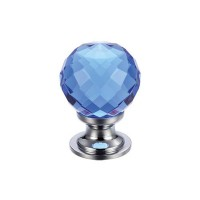 Glass Ball Cabinet Door Knob Facetted 25mm CP Blue