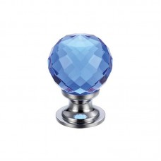 Fulton & Bray - Glass Ball Cabinet Door Knob Facetted 25mm CP Blue - FCH03ACPB